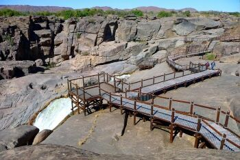 Secured skywalk with observation plattforms in the Augrabies Falls National Park, Northern Cape